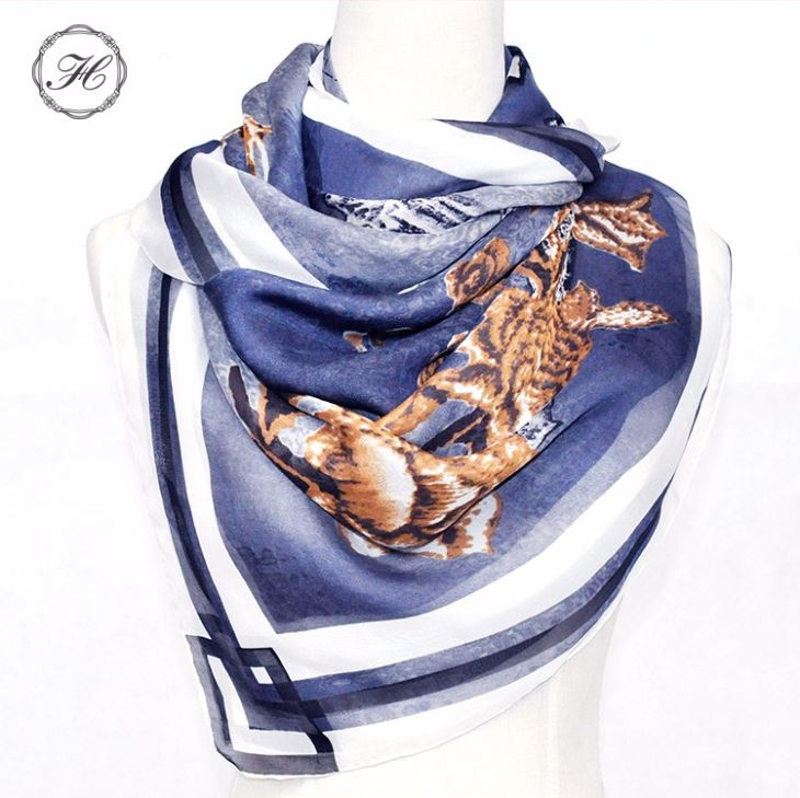 Custom Digital Printing Plain Pure Silk Scarf For Women