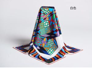 Newest Chinese Geometric Pattern Square Silk Twill Scarf