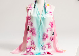 Fashion Digital Print Silk Satin Real Silk Scarf